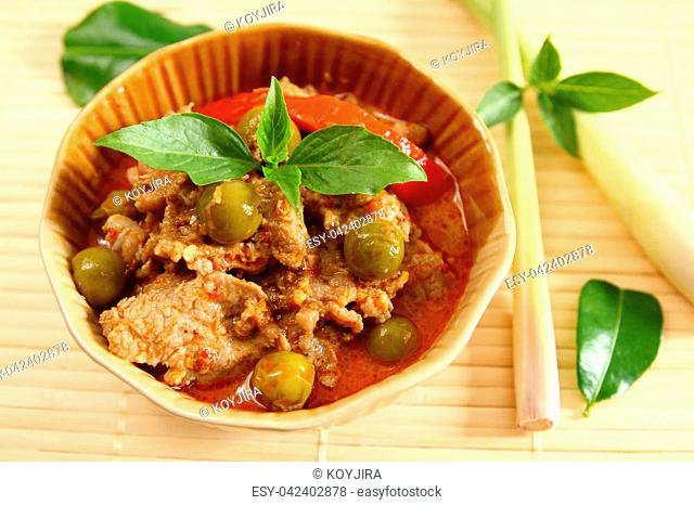Pork red curry Thai food style