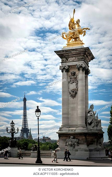 Pont Alexandre III bridge over Seine River in Paris