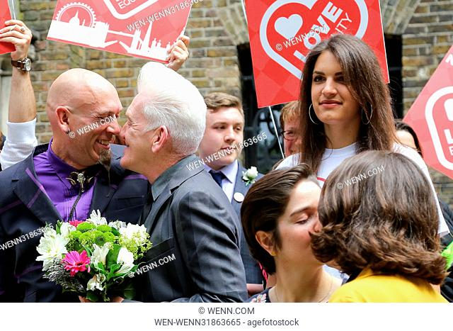 A 'wedding reception' held in London's Soho in solidarity with Northern Ireland's march for marriage equality, taking place in Belfast