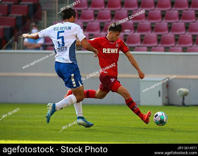 Cologne, Germany, 12.09.2020, DFB Pokal, 1. Runde, VSG Altglienicke - 1. FC Cologne: Philipp Zeiger (Berlin), Elvis Rexhbecaj (Cologne)