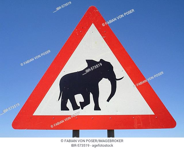 Street sign shows elefant, Palmwag, Namibia