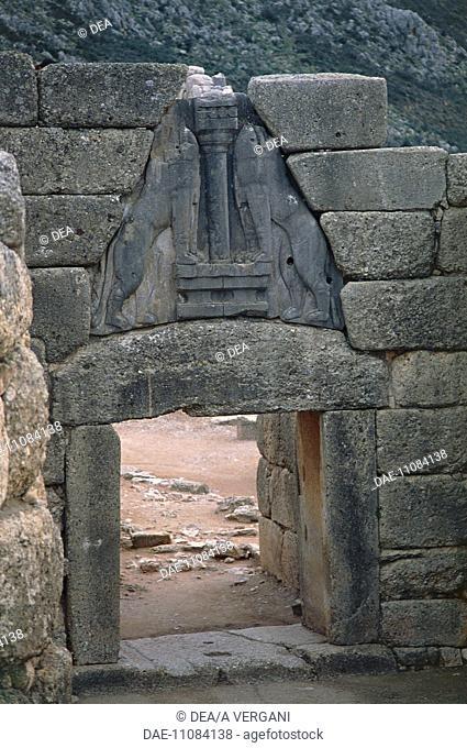 Greece - Peloponnese - Archaeological site of Mycenae (UNESCO World Heritage List, 1999). Lion Gate