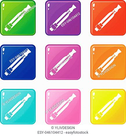 Clearomizer icons of 9 color set isolated vector illustration