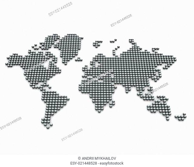 Continents made from silver balls, perspective version