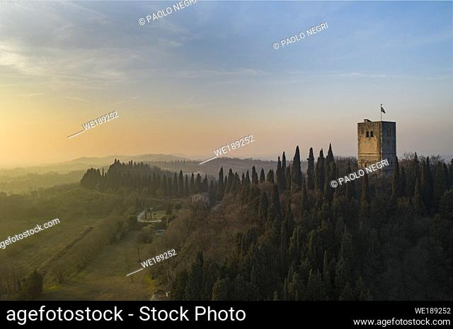 Castle tower, fortress - La Rocca, Solferino, Italy - War Memorial, battle for Second Italian War of Independence, June 24, 1859