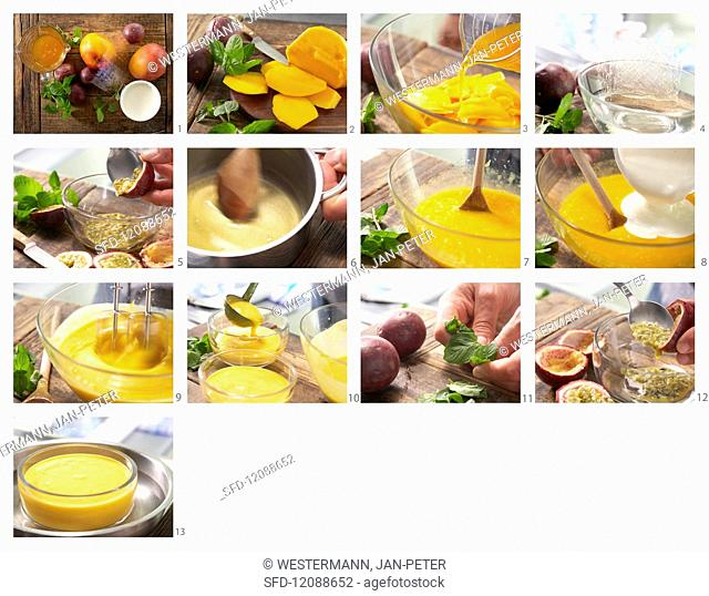 Mango and passion fruit cream being made