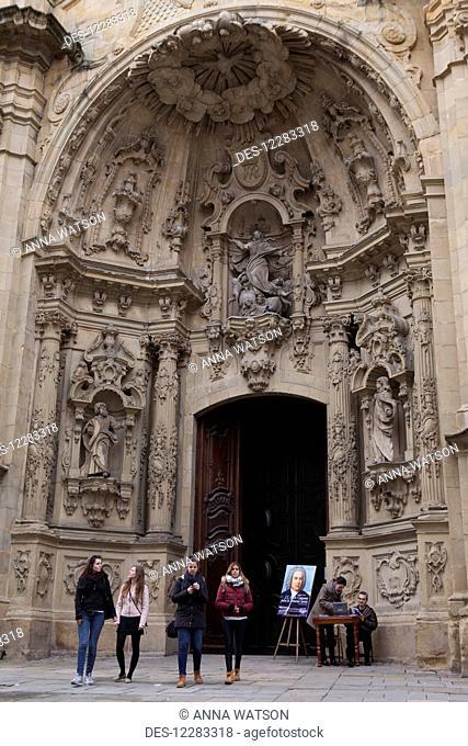 The church of Santa Maria with its heavily ornamented baroque facade; San Sebastian, Spain
