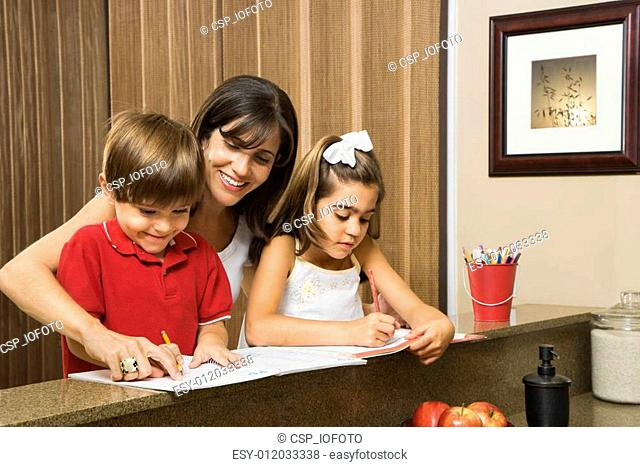 Family doing homework