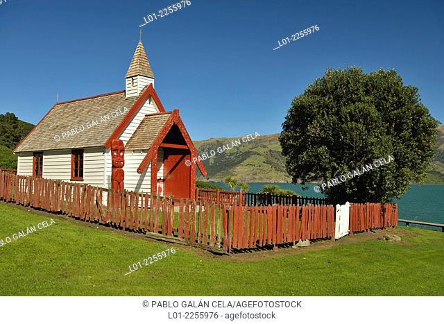 Catholic Church in Akaroa peninsula. New Zealand south island