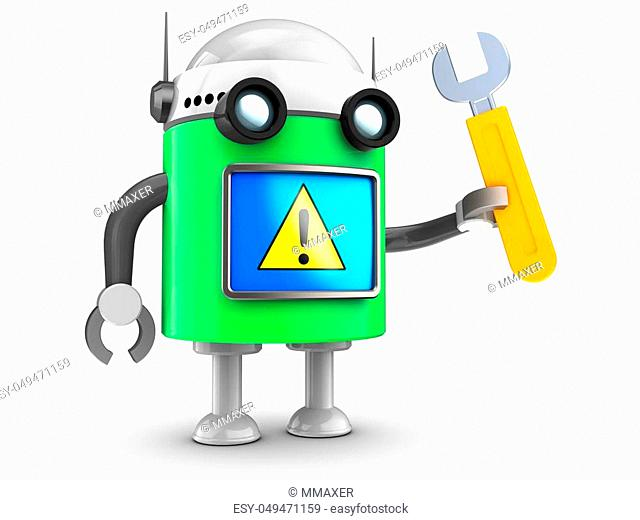 3d illustration of robot with with wrench over white background