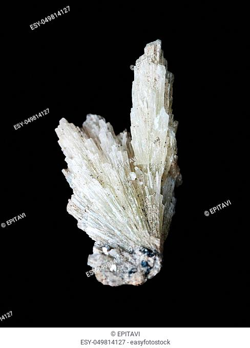 Collectible mineral strontianite specimen; radial splice of white crystals isolated on a black background; Mine number 5, Long Mountain, village Vishnevogorsky