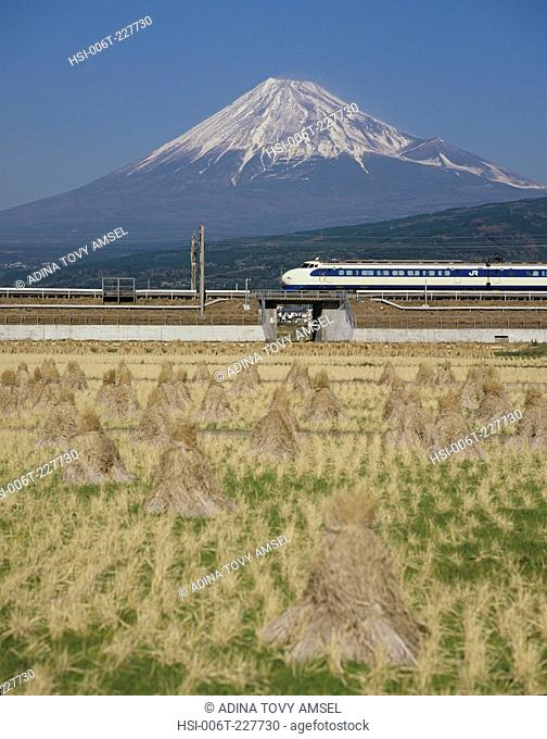 Japan. Bullet train in front of Mount Fuji