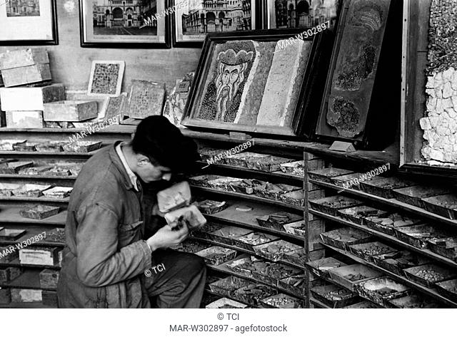 cleaning up the golden mosaics of the Basilica of San Marco in Venice, 1955