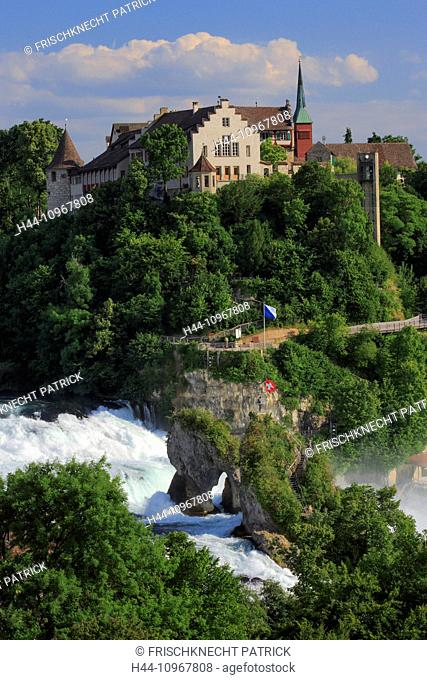 Flag, cliff, rock, river, flow, body of water, water, Eastern Switzerland, panorama, Rhine, Rhine Falls, Rhine Fall, Schaffhausen, castle, Laufen castle