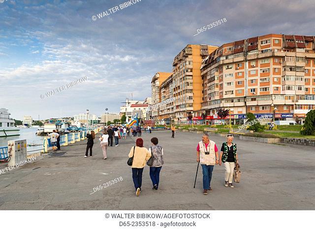 Romania, Danube River Delta, Tulcea, waterfront buildings by Danube River