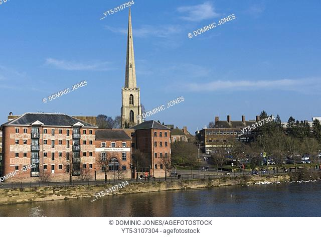 St. Andrews Spire or 'Glover's Needle' on the River Severn, Worcester, England, Europe