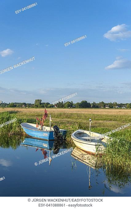 Fishing boats at the canal Baaber Bek, Baabe-Moritzdorf, Ruegen, Mecklenburg-Vorpommern, Deutschland, Europe