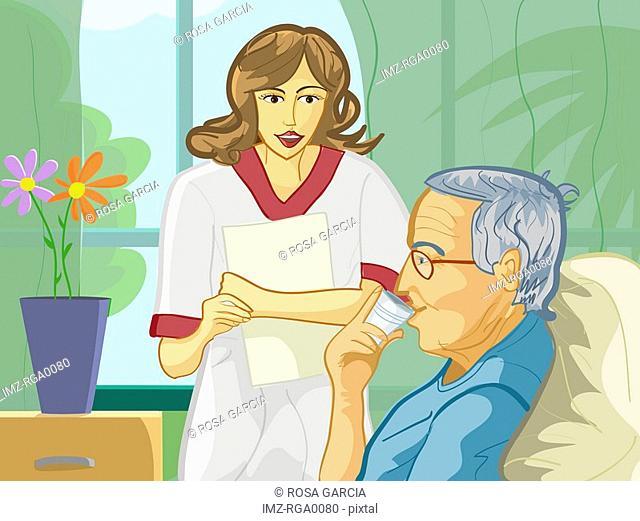 A nurse providing medication to an elderly patient