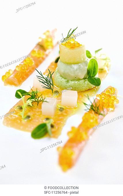 Char caviar with avocado cream
