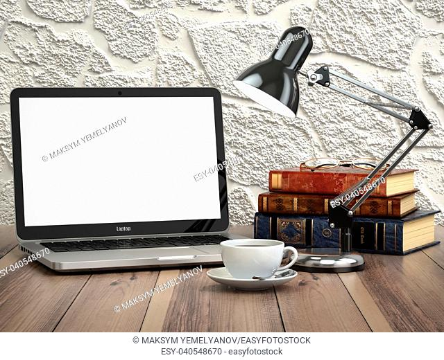 Laptop with books and coffee cup on the vintage desk. Modern stylish workspace. 3d