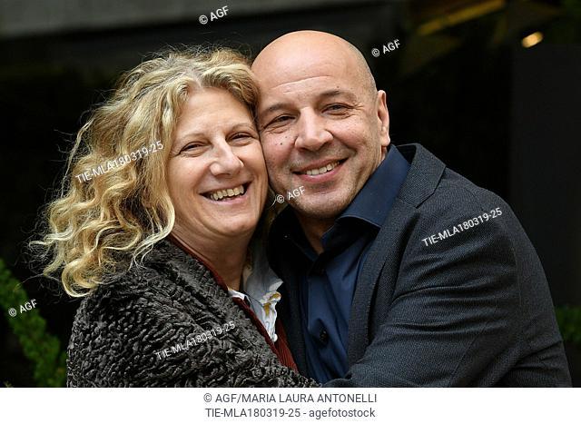 Angela Finocchiaro, Aldo Baglio during 'Scappo a casa' film photocall, Rome, Italy 18/03/2019