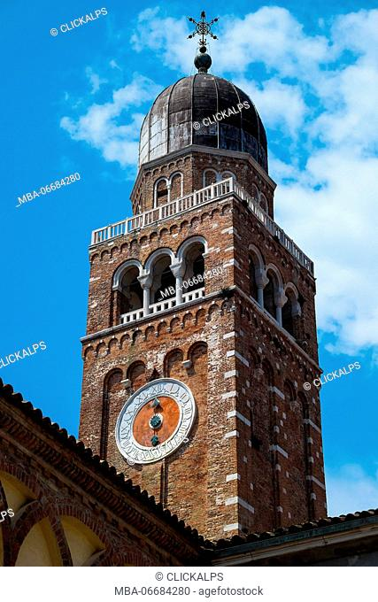 Chioggia, Veneto, Italy, Europe. The detail of the bell tower