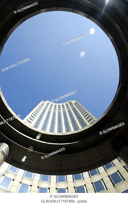 Skyscraper viewed through a circle, New York City, New York State, USA