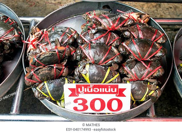 Crabs for sale at fresh food market in Samut Sakhon,Thailand