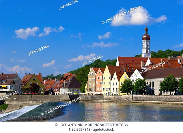 Lech River, Landsberg am Lech, Romantische Strasse (Romantic Road), Bavaria, Germany