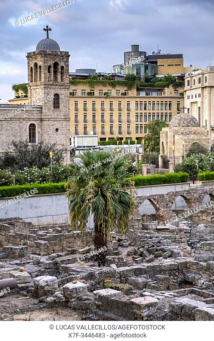 Roman Forum and Saint George Greek Orthodox Cathedral, Downtown, Beirut, Lebanon