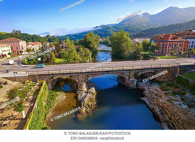 Cangas de Onis village in Asturias of Spain