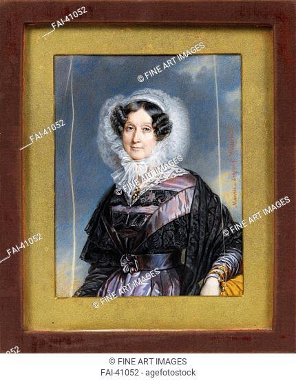 Portrait of Adélaïde d'Orléans (1777-1847) by Meuret, François (1800-1887)/Watercolour, Gouache on cardboard/Academic art/France/Private Collection/13,7x10