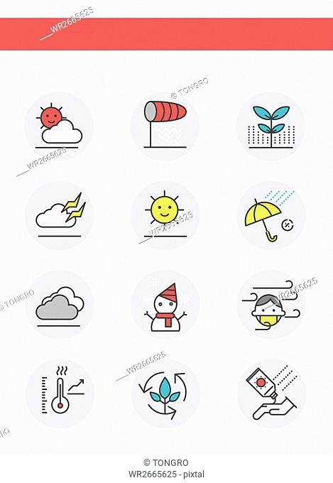 Set of various line icons related to weather