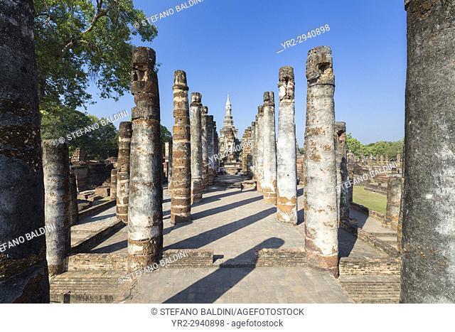 The ruins of Wat Mahathat, Sukhothai historical park, Sukhothai,Thailand