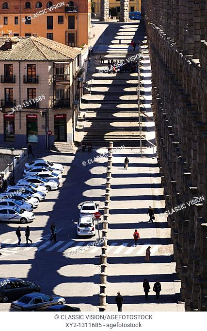 Segovia, Segovia Province, Spain  The Roman aqueduct and shadow  UNESCO World Heritage Site