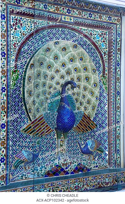 Beautiful mosiac work of peacocks at City Palace, Udaipur, Rajastan, India