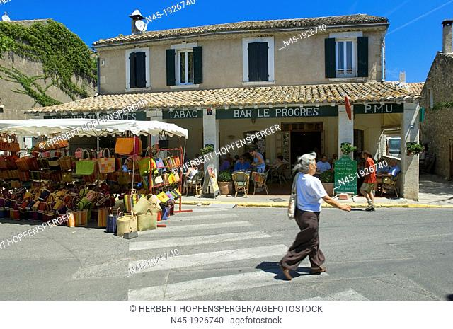 Eygalieres; Cafe; Baskets Stand; Provence; France