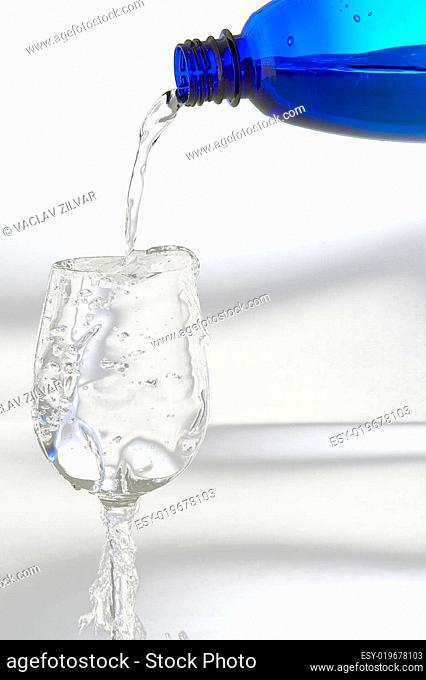 Fresh mineral water from plastic bottle