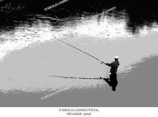 Horizontal black and white fisherman illustraction