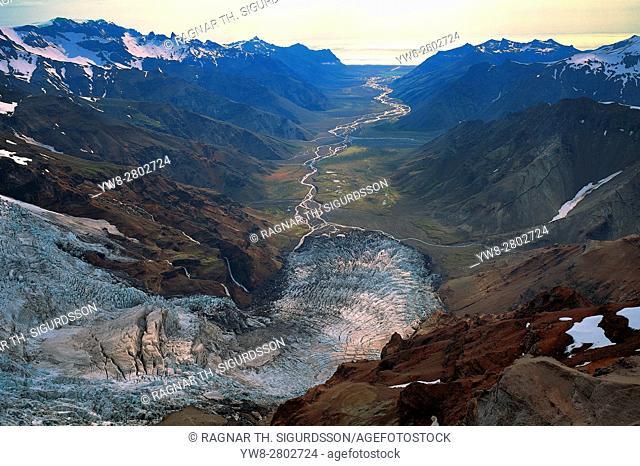 Kalfafellsdalur Valley, Brokarjokull glacier, Vatnajokull Ice Cap, Iceland