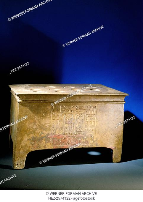 Chest-shaped portable altar made for the jubilee celebrations of Ramesses II, reused in the burial chamber of the XXIst dynasty king Psusennes I