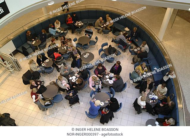 People in a cafeteria in the shopping mall, Smaralind
