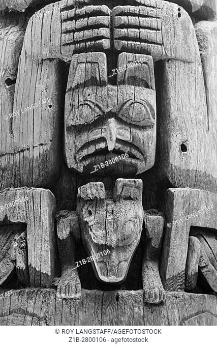 Abstract image of a weathered totem pole