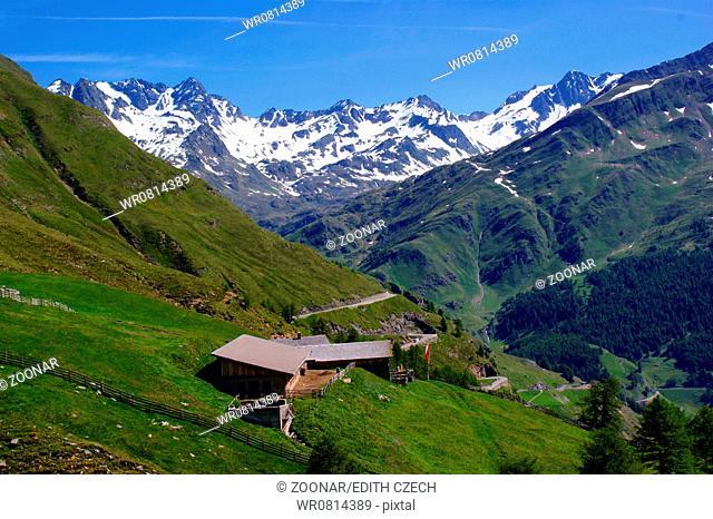 Alpine hut and Stubai Alps