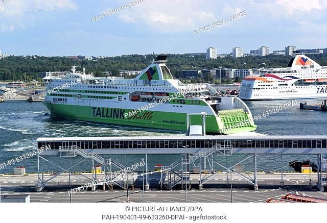 12 July 2018, Estonia, Tallinn: The ferry Tallink Shuttle leaves the ferry terminal of the port city. Tallinn (former German name: Reval)