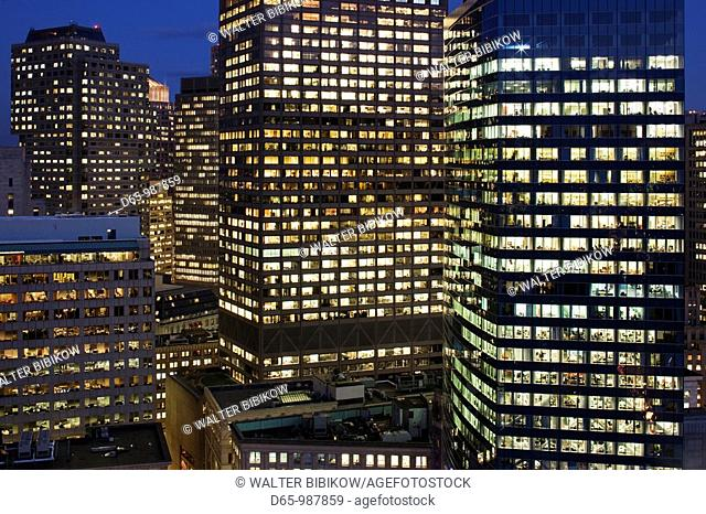 USA, Massachusetts, Boston, Financial District Buildings, high angle view, evening
