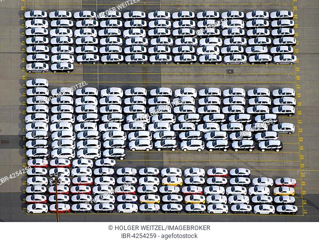 New Audi cars ready to be shipped, Uni Kai in Port of Hamburg, Hamburg, Germany