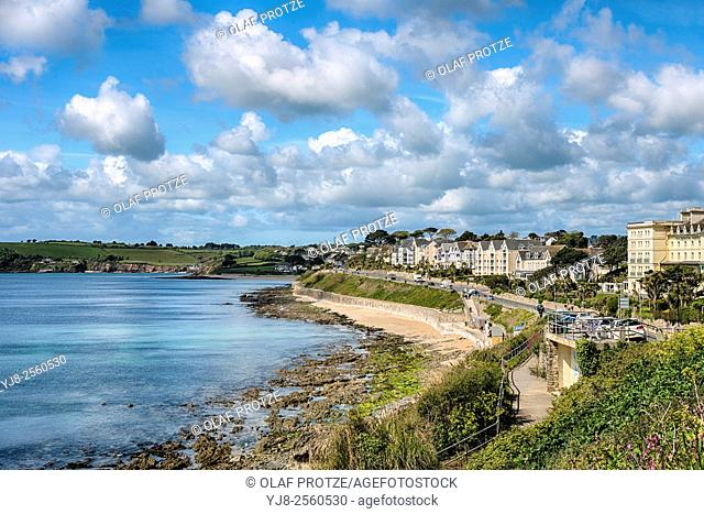 View over Gyllyngvase Beach in Falmouth, Cornwall; England; United Kingdom