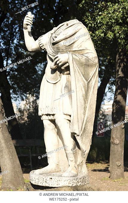 An ancient Roman headless sculpture on Palatine Hill, Rome, Lazio, Italy
