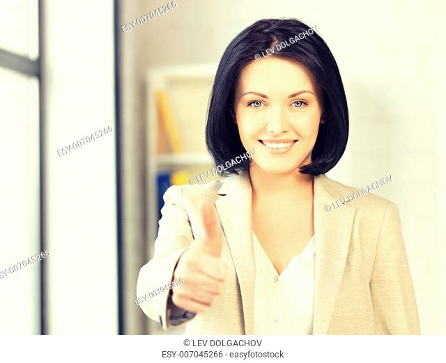 bright picture of young woman with thumbs up